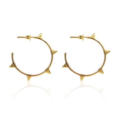 Rock Chic Studded Hoop Earrings in 18k Gold Vermeil on Sterling Silver