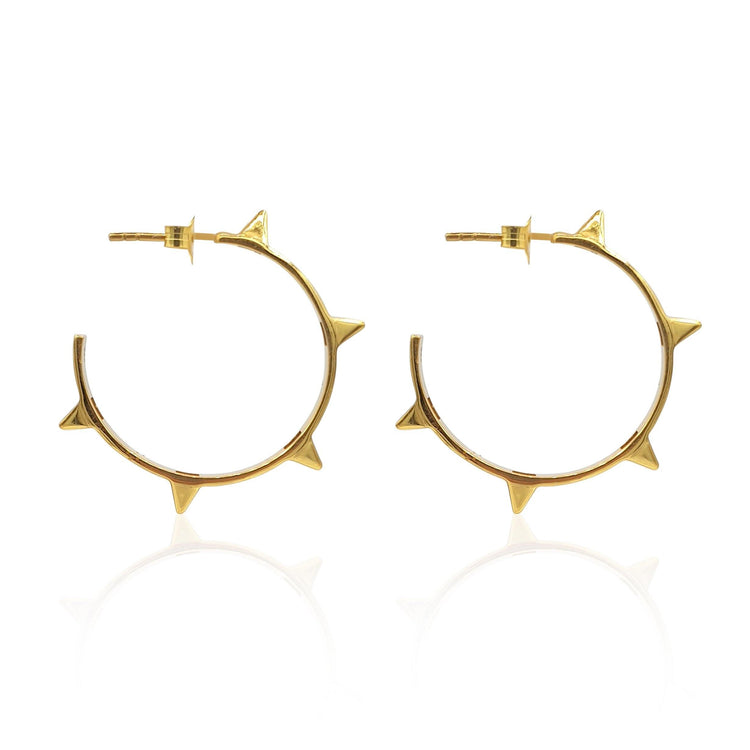 Rock Chic Studded Hoop Earrings in 18k Gold Vermeil on Sterling Silver - Eliza Bautista