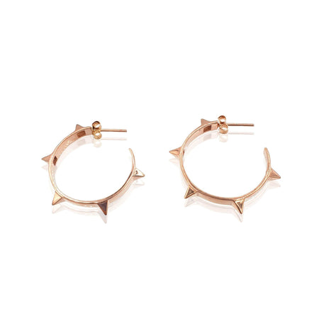 Rock Chic Studded Hoop Earrings in 18k Rose Gold Vermeil on Sterling Silver - Eliza Bautista