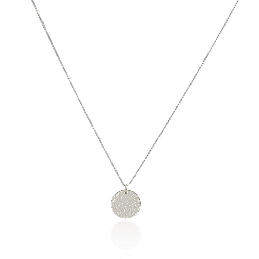 Sterling Silver Hammered Round Disc Necklace - Large - Eliza Bautista