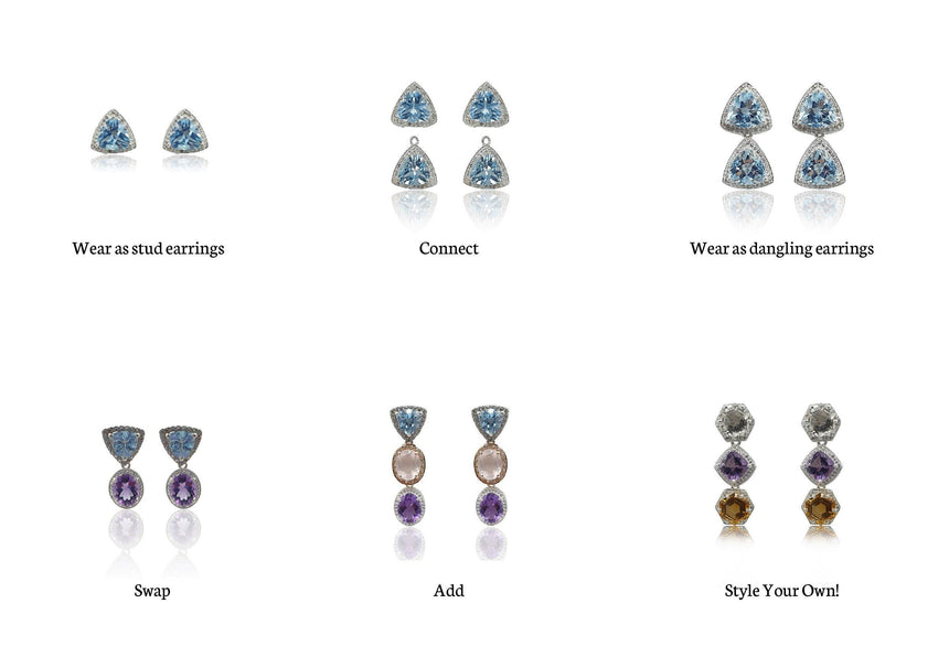 Style Your Own: Trillion Blue Topaz Earrings in Sterling Silver