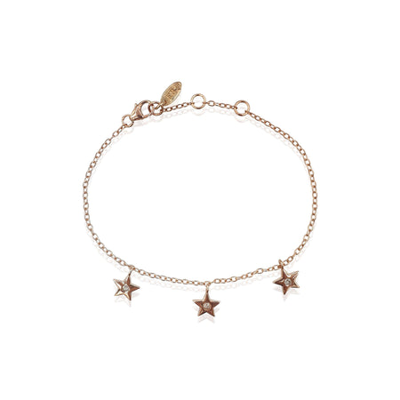 Star Charms Bracelet with DIAMONDS in 18k Rose Gold Vermeil