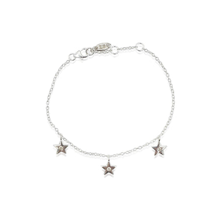 Star Charms Bracelet with DIAMONDS in Sterling Silver