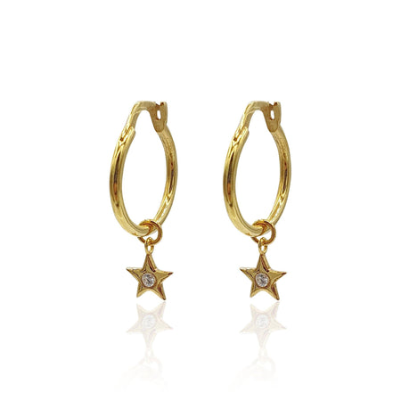 Star Charms Huggie Hoop Earrings with DIAMONDS in 18k Gold Vermeil
