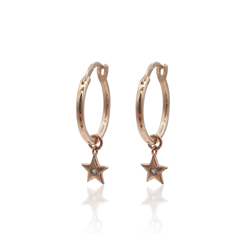 Star Charms Huggie Hoop Earrings with White Topaz in 18k Rose Gold Vermeil - Eliza Bautista