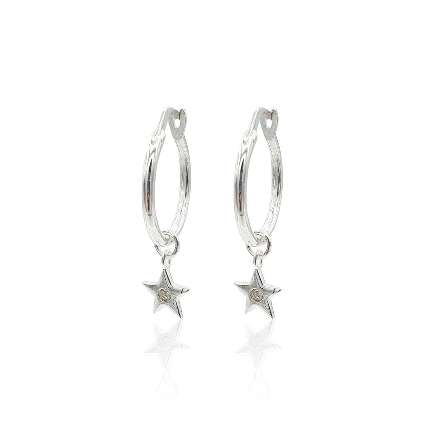 Star Charms Huggie Hoop Earrings with DIAMONDS in Sterling Silver - Eliza Bautista