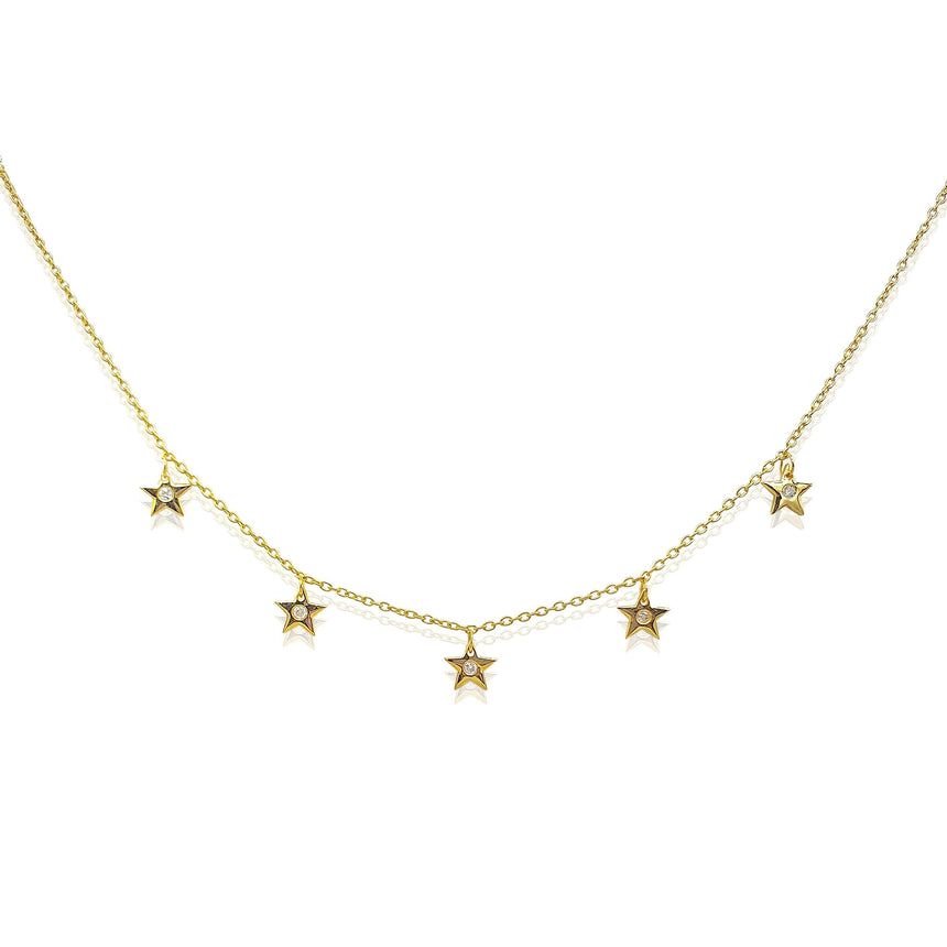 Star Charms Necklace with DIAMONDS in 18k Gold Vermeil