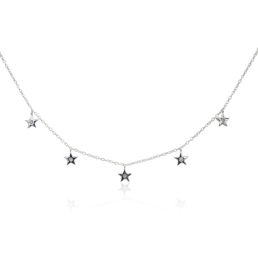 Star Charms Necklace with White Topaz in Sterling Silver