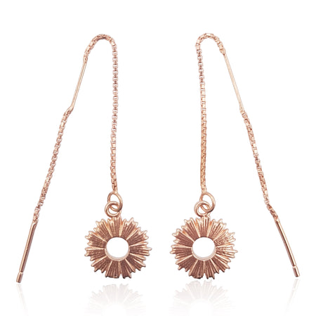 Radial Sunburst Dangling Earrings in 18k Rose Gold Vermeil - Eliza Bautista