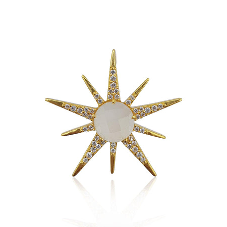 radial sun sunburst sunrays pendant and necklace in moonstone and cubic zirconia, sterling silver, gold and rose gold vermeil by eliza bautista jewellery gifts for women