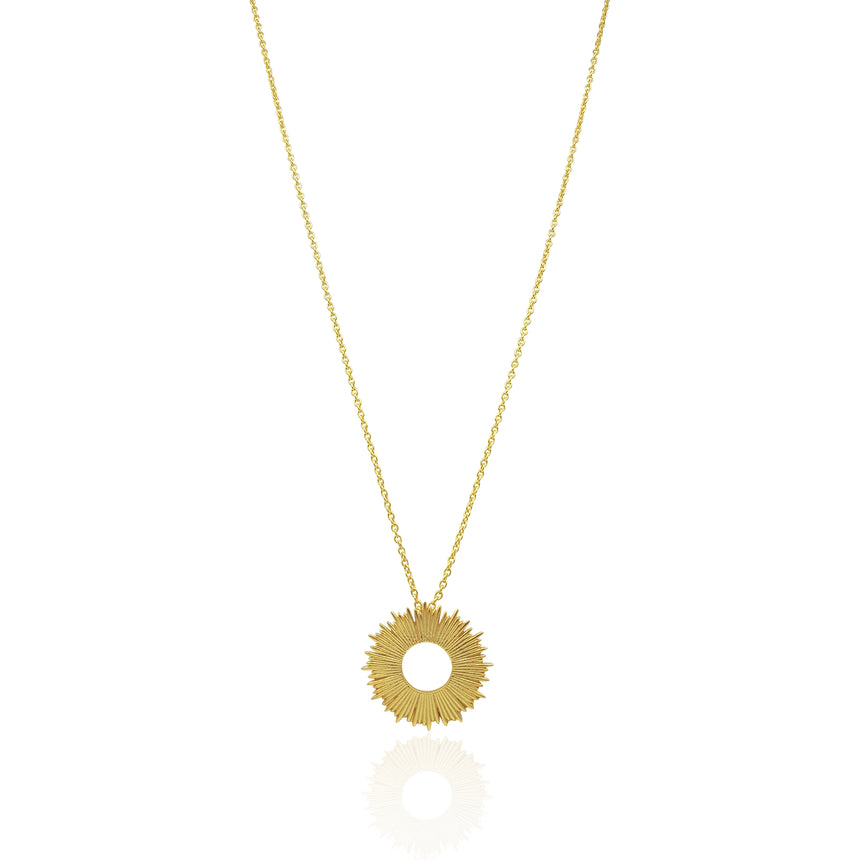 Radial Sunburst Necklace in Sterling Silver - Large - Eliza Bautista