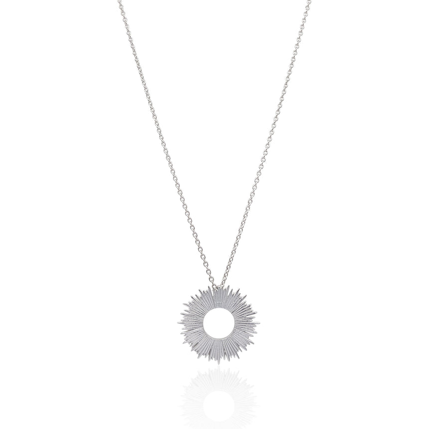 Radial Sunburst Necklace in Sterling Silver - Medium - Eliza Bautista
