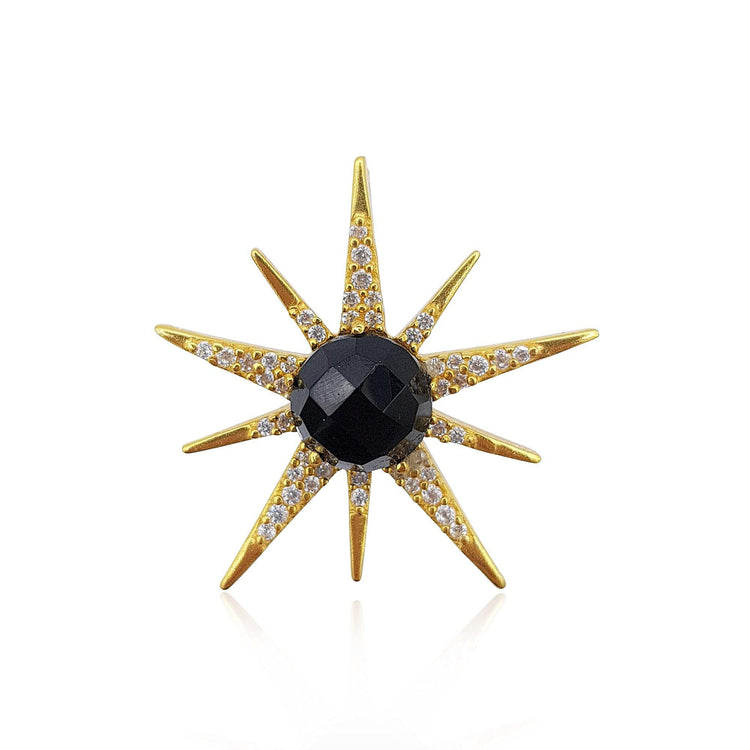 Gemstone Sunburst with Onyx in 18k Gold Vermeil - Medium - Eliza Bautista