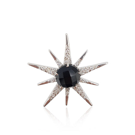 Gemstone Sunburst with Onyx in Sterling Silver - Medium - Eliza Bautista