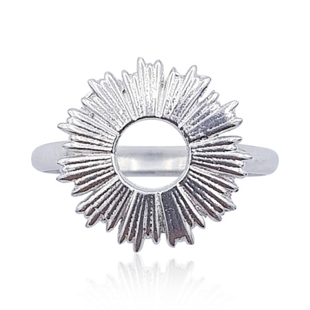 Radial Sunburst Ring in Rhodium Plated Sterling Silver