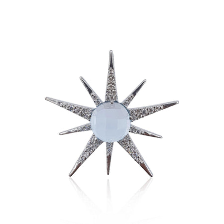 Gemstone Sunburst with Sky Blue Topaz in Sterling Silver - Medium - Eliza Bautista