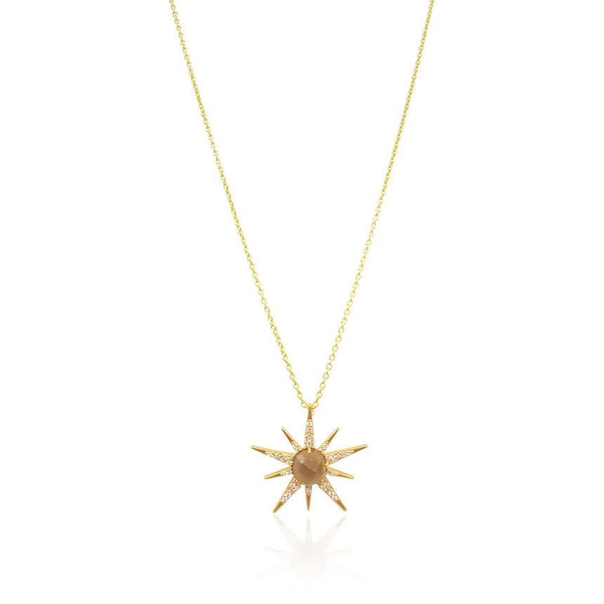 Gemstone Sunburst with Whisky Quartz in 18k Gold Vermeil - Medium - Eliza Bautista