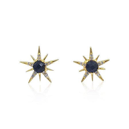 Gemstone Sunburst Stud Earrings in 18k Gold Vermeil on Sterling Silver (Black Onyx and Cubic Zirconia) - Eliza Bautista