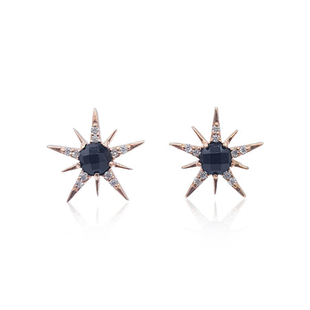 Gemstone Sunburst Stud Earrings in 18k Rose Gold Vermeil on Sterling Silver (Black Onyx and Cubic Zirconia)