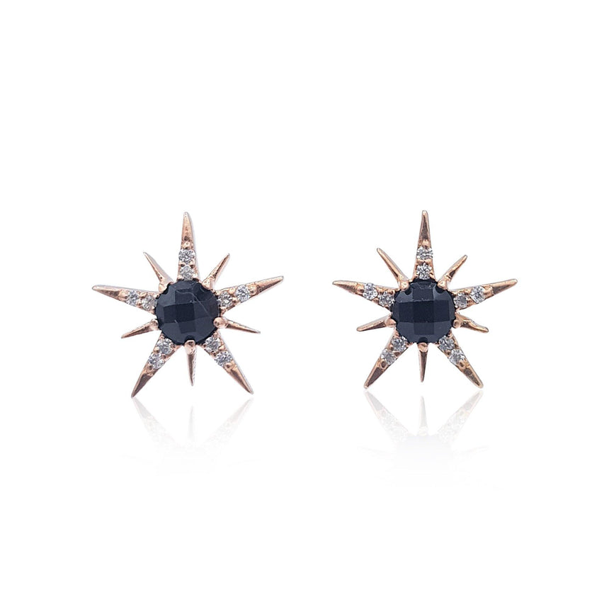 Gemstone Sunburst Stud Earrings in Sterling Silver (Black Onyx and Cubic Zirconia) - Eliza Bautista