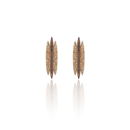 Tallulah Earrings with Black Spinel in 18k Rose Gold Vermeil (Textured)