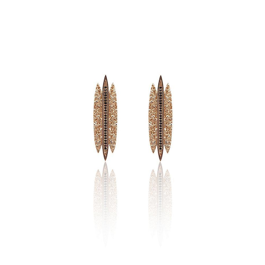 Tallulah Earrings with Black Spinel in 18k Rose Gold Vermeil (Textured) - Eliza Bautista