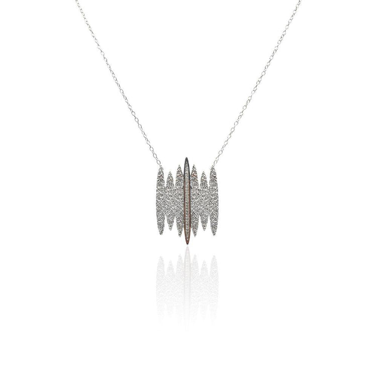Tallulah Necklace with White Topaz in Sterling Silver (Textured)