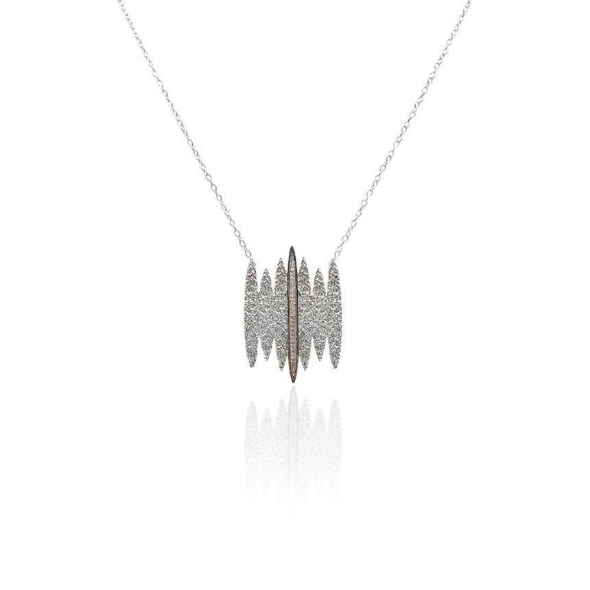 Tallulah Necklace with White Topaz in Sterling Silver (Textured) - Eliza Bautista