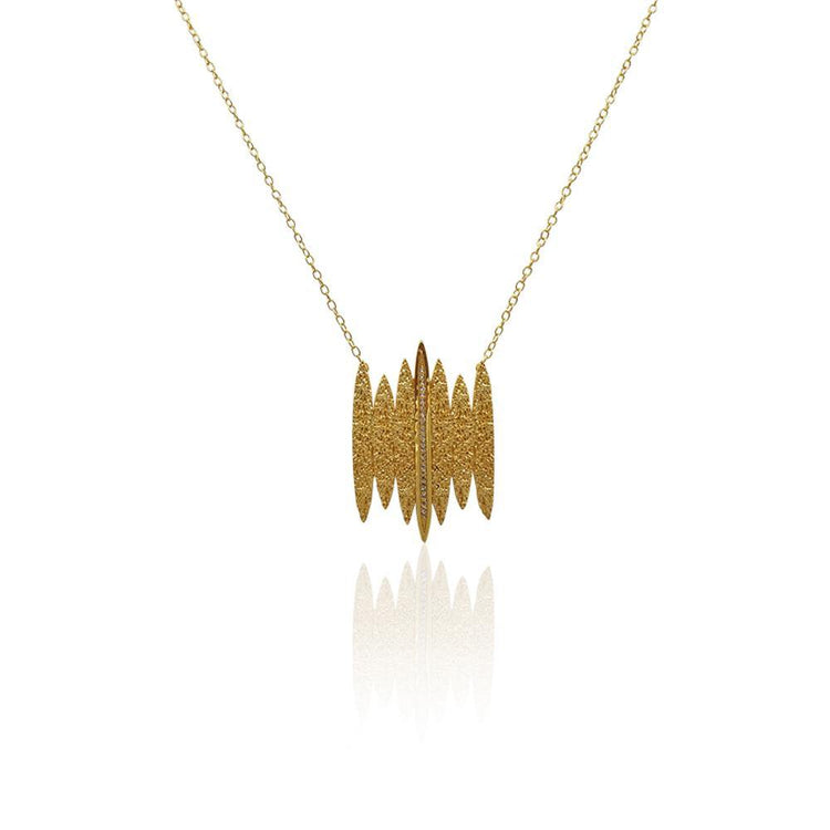 Tallulah Necklace with DIAMONDS in 18k Gold Vermeil (Textured)