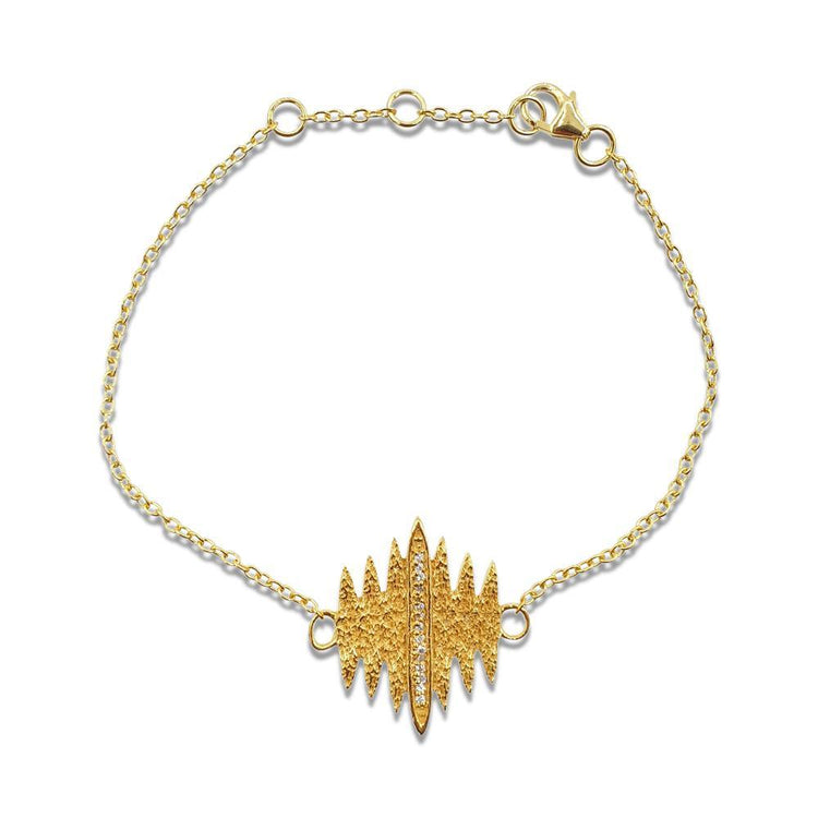 Tallulah Bracelet with DIAMONDS in 18k Gold Vermeil (Textured)