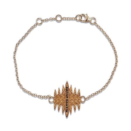 Tallulah Bracelet with Black Spinel in 18k Rose Gold Vermeil (Textured)