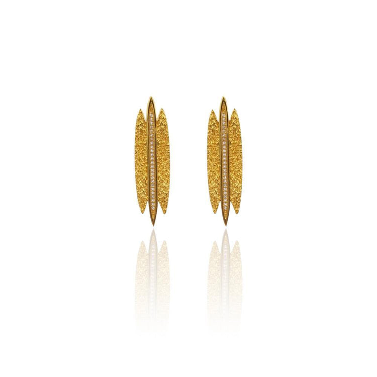 Tallulah Earrings with DIAMONDS in 18k Gold Vermeil (Textured)