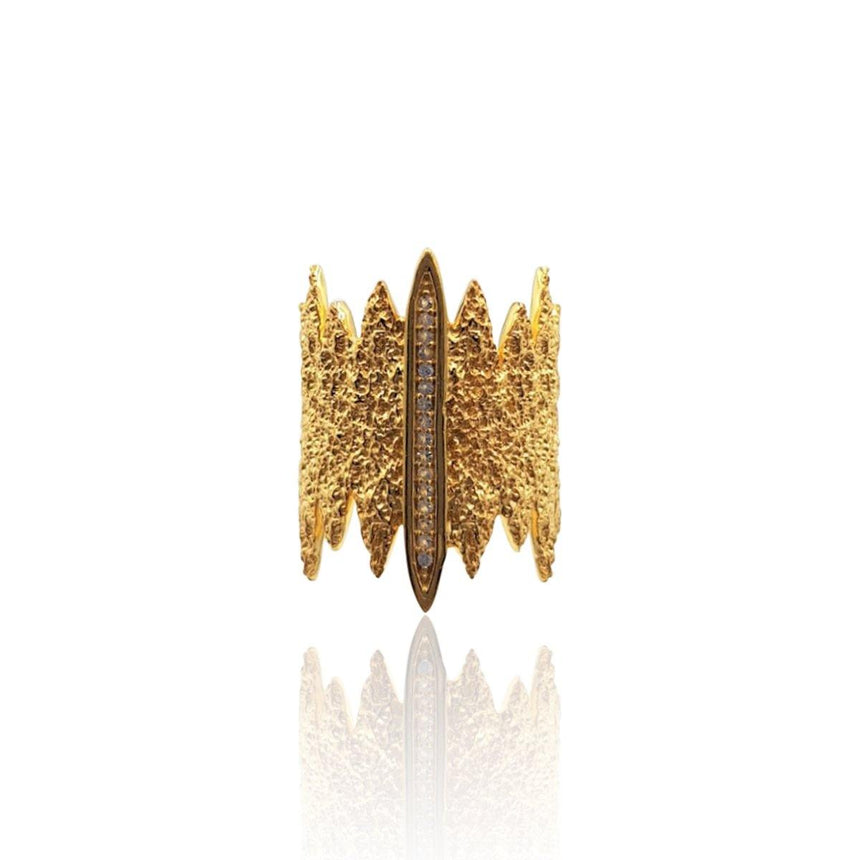 Tallulah Art Deco Ring with DIAMONDS in 18k Gold Vermeil (Textured)
