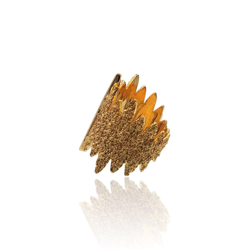 Tallulah Art Deco Ring with Black Spinel in 18k Rose Gold Vermeil (Textured) - Eliza Bautista