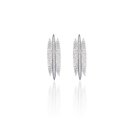 Tallulah Earrings with White Topaz in Sterling Silver (Textured)