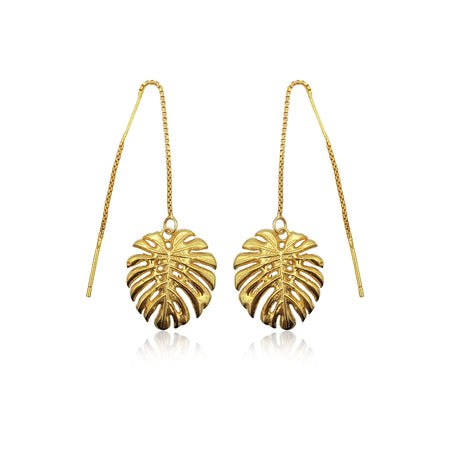 Tropical Leaf Dangling Earrings in 18k Gold Vermeil on Sterling Silver - Eliza Bautista