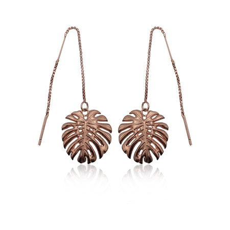Tropical Leaf Dangling Earrings in 18k Rose Gold Vermeil on Sterling Silver - Eliza Bautista