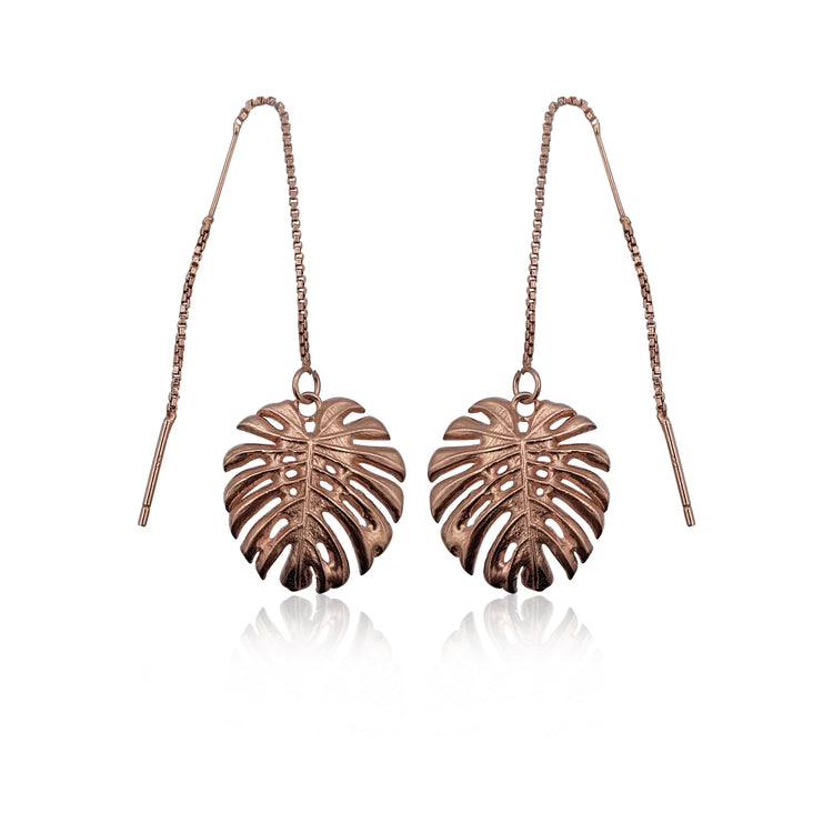 Tropical Leaf Dangling Earrings in 18k Rose Gold Vermeil on Sterling Silver