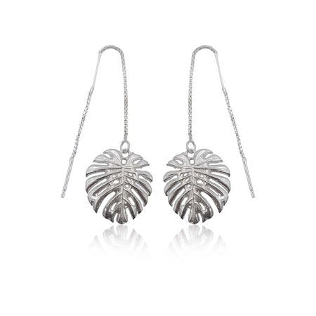 Tropical Leaf Dangling Earrings in Sterling Silver