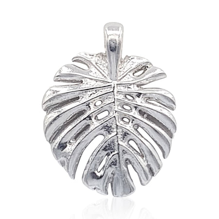 Tropical Leaf Necklace in Sterling Silver - Eliza Bautista