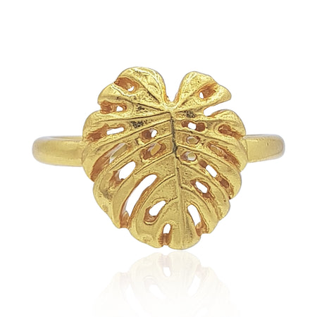Tropical Leaf Ring in 18k Gold Vermeil on Sterling Silver
