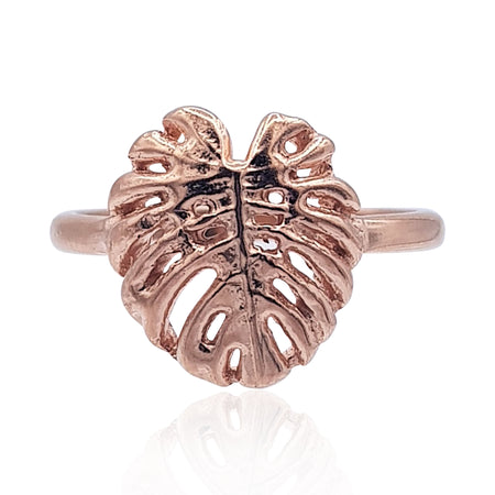 Tropical Leaf Ring in 18k Rose Gold Vermeil on Sterling Silver