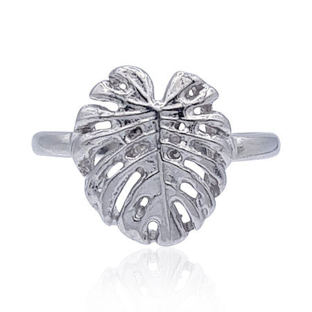 Tropical Leaf Ring in Sterling Silver
