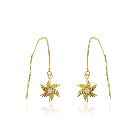 Comet Sunburst Dangling Earrings in 18k Gold Vermeil on Sterling Silver (Citrine)