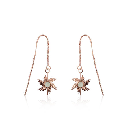 Comet Sunburst Dangling Earrings in 18k Rose Gold Vermeil on Sterling Silver (Green-Gold Quartz)