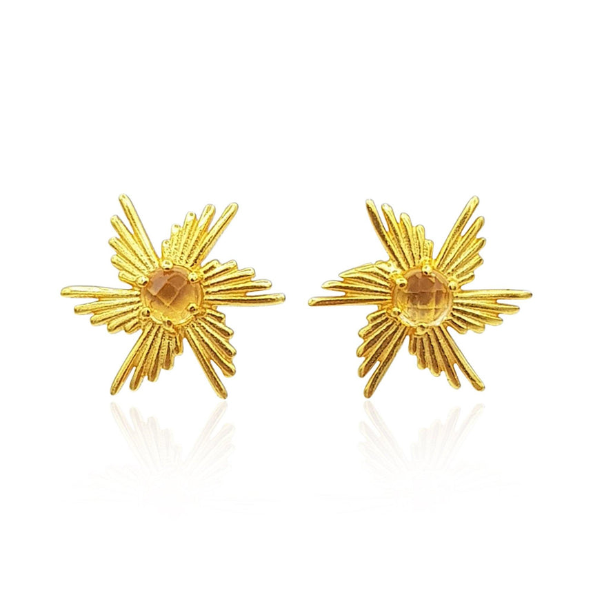 Comet Sunburst Dangling Earrings in Sterling Silver (Citrine) - Eliza Bautista