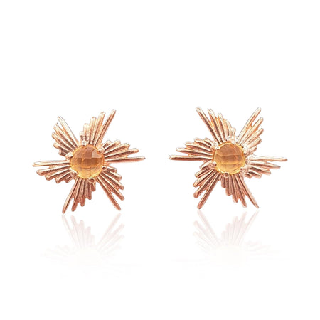 Comet Sunburst Stud Earrings in 18k Rose Gold Vermeil on Sterling Silver (Citrine) - Eliza Bautista