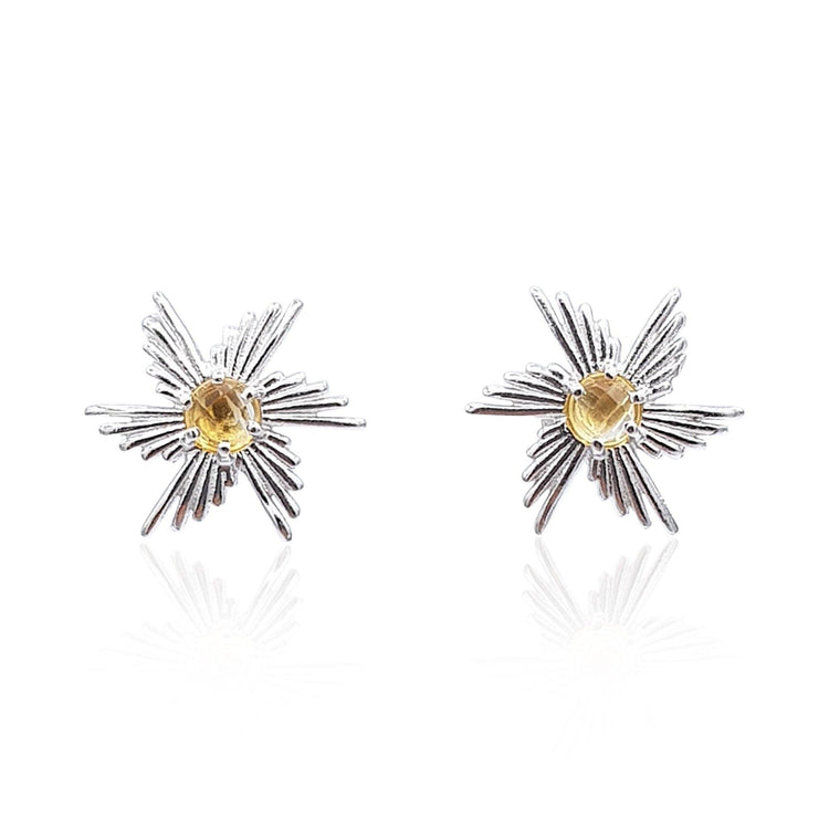 Comet Sunburst Stud Earrings in Sterling Silver (Citrine) - Eliza Bautista