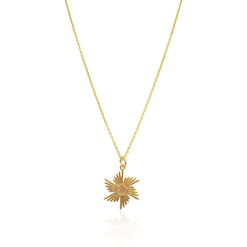 Comet Sunburst Necklace with Citrine in 18k Gold Vermeil on Sterling Silver - Eliza Bautista