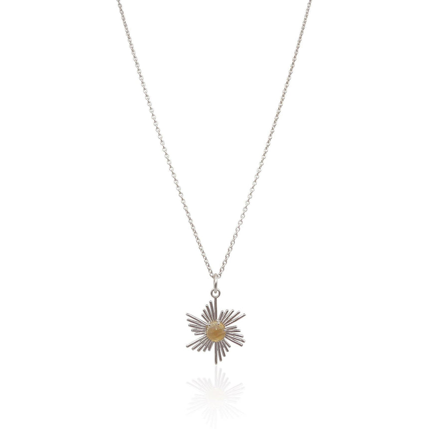 Comet Sunburst Necklace with Citrine in Sterling Silver - Eliza Bautista